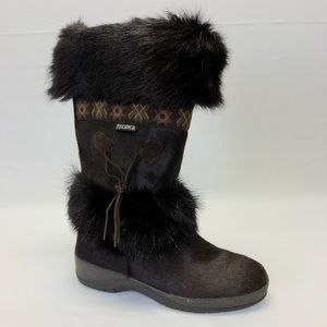 Tecnica - Goat Fur Brown Tall Boots Size 9 Italy